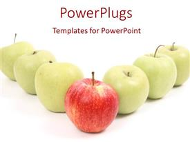 PowerPoint template displaying a number o green apples with a red apple in front