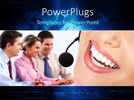 PowerPlugs: PowerPoint template with a number of office workers happy with white background