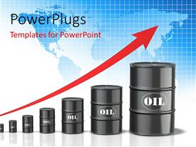 PowerPoint template displaying a number of oil drums with an increasing arrow sign