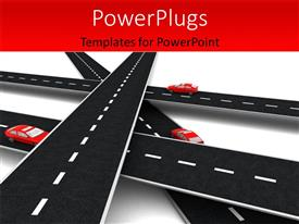 PowerPlugs: PowerPoint template with a number of overhead roads with cars