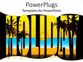PowerPoint template displaying a number of palm trees creating the world holiday
