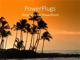 PowerPlugs: PowerPoint template with a number of palm trees with sea in background showing sunset scene