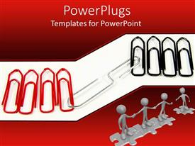 PowerPlugs: PowerPoint template with a number of paper clips with white background