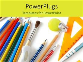 PowerPoint template displaying a number of pencil colors and brushes with white background
