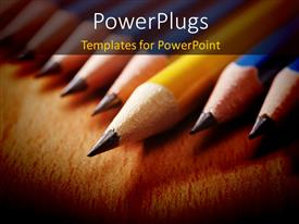 PowerPlugs: PowerPoint template with a number of pencils with a brownish background and place for text