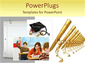 PowerPlugs: PowerPoint template with a number of pens , a degree, a cap and students