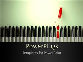 PowerPlugs: PowerPoint template with a number of pens with one without a cover and greenish background