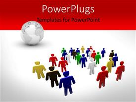 PowerPlugs: PowerPoint template with a number of people along with a globe