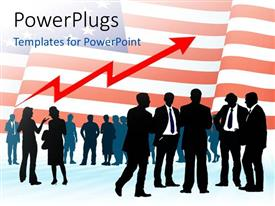 PowerPoint template displaying a number of people with American flag in background
