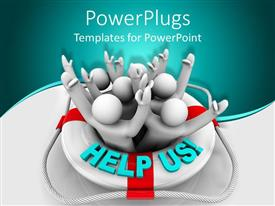PowerPoint template displaying a number of people asking for help