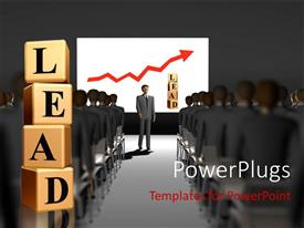 PowerPlugs: PowerPoint template with a number of people attending a lecture with the word learn