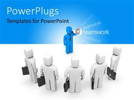 PowerPlugs: PowerPoint template with a number of people being guided by their leader