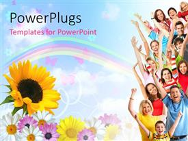PowerPlugs: PowerPoint template with a number of people being happy with a rainbow in the background