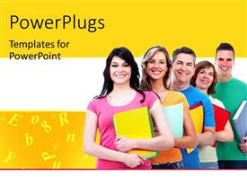 PowerPlugs: PowerPoint template with a number of people being happy with yellowish background