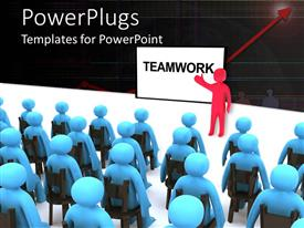 PowerPlugs: PowerPoint template with a number of people being taught about teamword