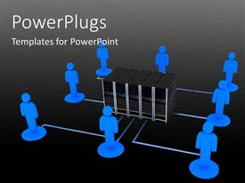 PowerPlugs: PowerPoint template with a number of people with blackish background