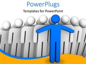 PowerPlugs: PowerPoint template with a number of people with a blue one leading them all