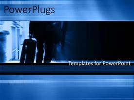 PowerPoint template displaying a number of people with bluish background