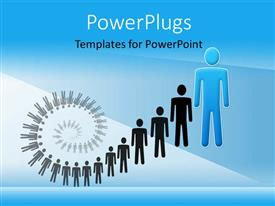 PowerPoint template displaying a number of people with a bluish background