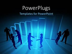 PowerPlugs: PowerPoint template with a number of people with a bluish background and place for text