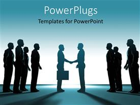 PowerPlugs: PowerPoint template with a number of people with the bluish background and place for text