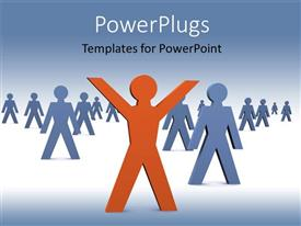 PowerPoint template displaying a number of people with bluish background and place for text