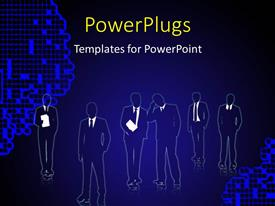 Presentation theme enhanced with a number of people with bluish background and place for text