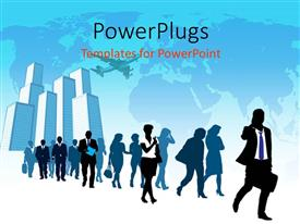 PowerPlugs: PowerPoint template with a number of people with buildings in the background