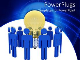 PowerPlugs: PowerPoint template with a number of people with a bulb in the middle