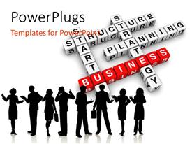 PowerPoint template displaying a number of people with business related stuff in background