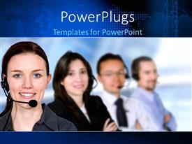 PowerPlugs: PowerPoint template with a number of people in a call centre with bluish background