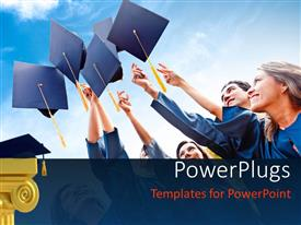PowerPlugs: PowerPoint template with a number of people celebrating their graduation