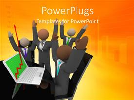 PowerPlugs: PowerPoint template with a number of people celebrating because of the growth
