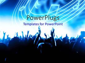 PowerPlugs: PowerPoint template with a number of people celebrating with music signs in the background