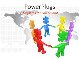 PowerPlugs: PowerPoint template with a number of people in circle with map in the background