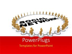 PowerPlugs: PowerPoint template with a number of people in circle with the word social network