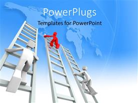 PowerPlugs: PowerPoint template with a number of people climbing the ladder