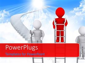PowerPlugs: PowerPoint template with a number of people climbing the ladders with clouds in the background