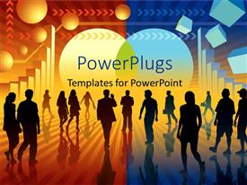 PowerPlugs: PowerPoint template with a number of people with a colorful background