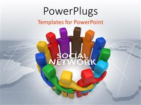 PowerPlugs: PowerPoint template with a number of people in colorful form with the words social network