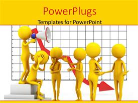 PowerPlugs: PowerPoint template with a number of people confused with chart in background