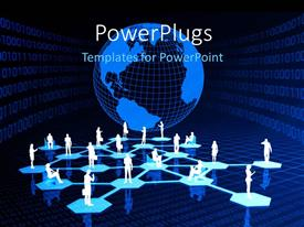 PowerPlugs: PowerPoint template with a number of people connected to each other with globe in the background