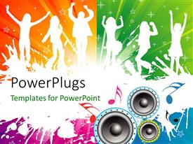 PowerPlugs: PowerPoint template with a number of people dancing with colorful background
