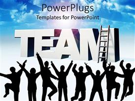 PowerPlugs: PowerPoint template with a number of people dancing with a ladder in the background