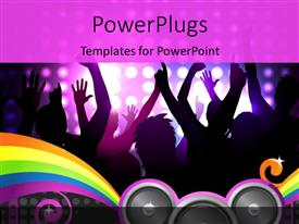 PowerPlugs: PowerPoint template with a number of people dancing with purple background