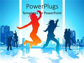 PowerPlugs: PowerPoint template with a number of people dancing with skyscrapers in background