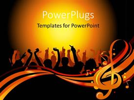 PowerPlugs: PowerPoint template with a number of people dancing together with yellowish background