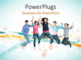 PowerPoint template displaying a number of people dancing with waves in the background