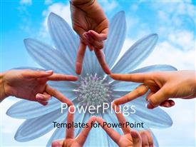 PowerPoint template displaying a number of people depicting a flower with sky in the background