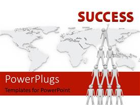 PowerPlugs: PowerPoint template with a number of people doing a teamwork with map in the background